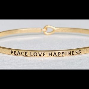 Peace love and happiness thin bangle bracelet
